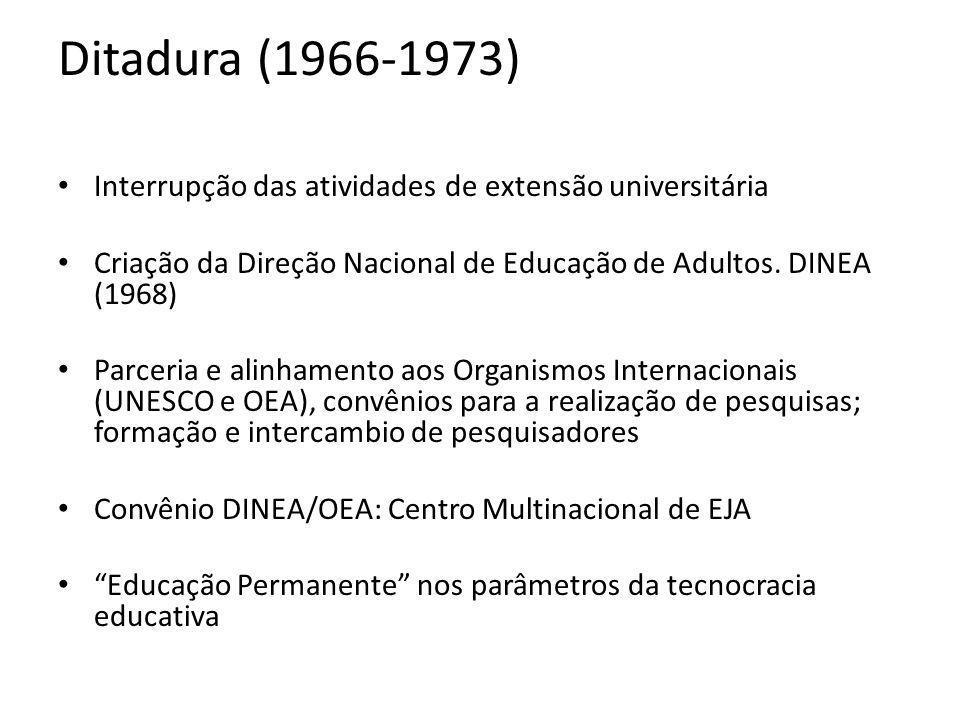 Ditadura (1966-1973) Interrupção das atividades de extensão universitária. Criação da Direção Nacional de Educação de Adultos. DINEA (1968)