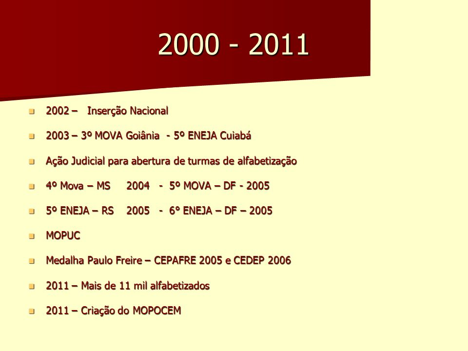 2000 - 2011 2002 – Inserção Nacional. 2003 – 3º MOVA Goiânia - 5º ENEJA Cuiabá. Ação Judicial para abertura de turmas de alfabetização.