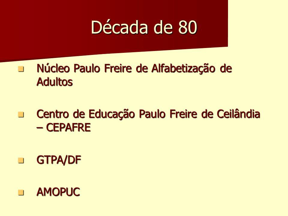 Década de 80 Núcleo Paulo Freire de Alfabetização de Adultos