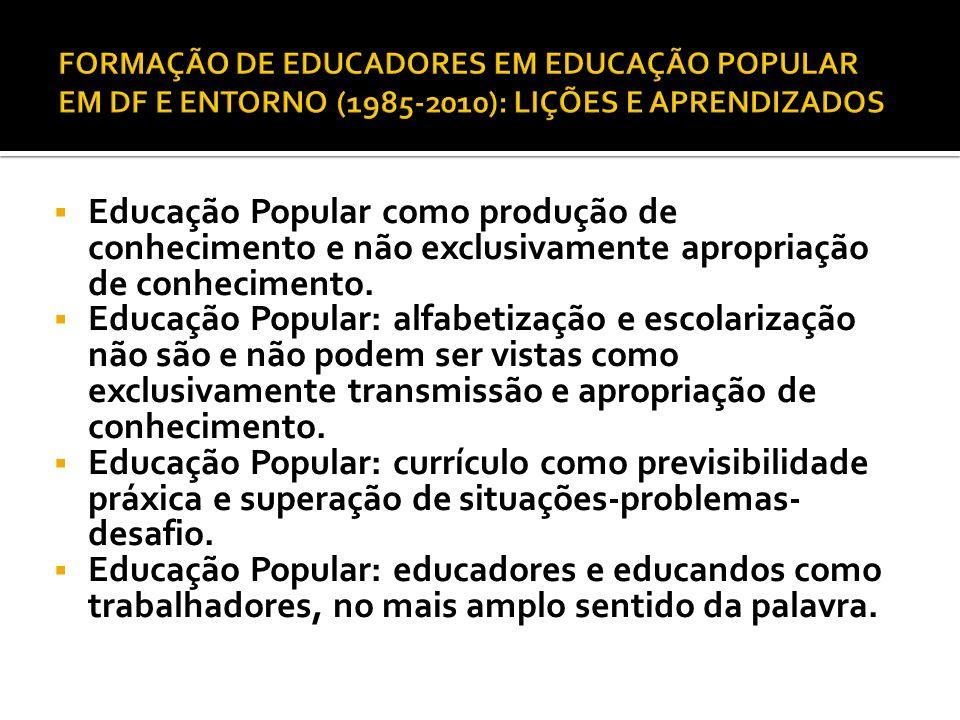 FORMAÇÃO DE EDUCADORES EM EDUCAÇÃO POPULAR EM DF E ENTORNO (1985-2010): LIÇÕES E APRENDIZADOS