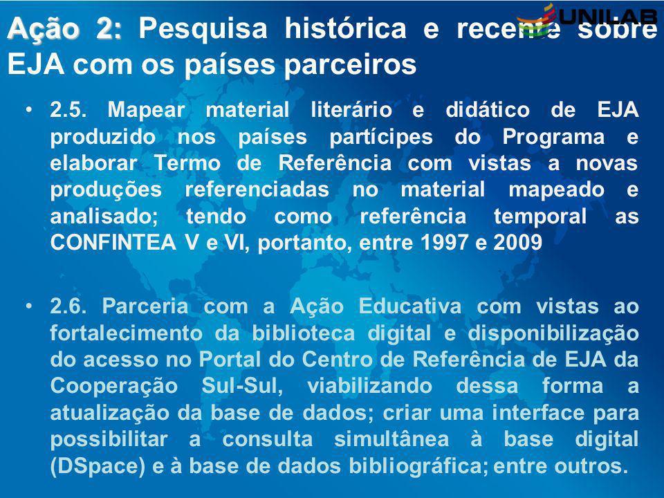Ação 2: Pesquisa histórica e recente sobre EJA com os países parceiros