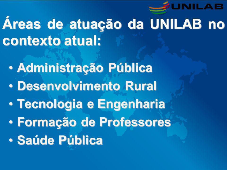 Áreas de atuação da UNILAB no contexto atual: