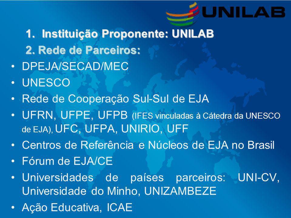 Instituição Proponente: UNILAB