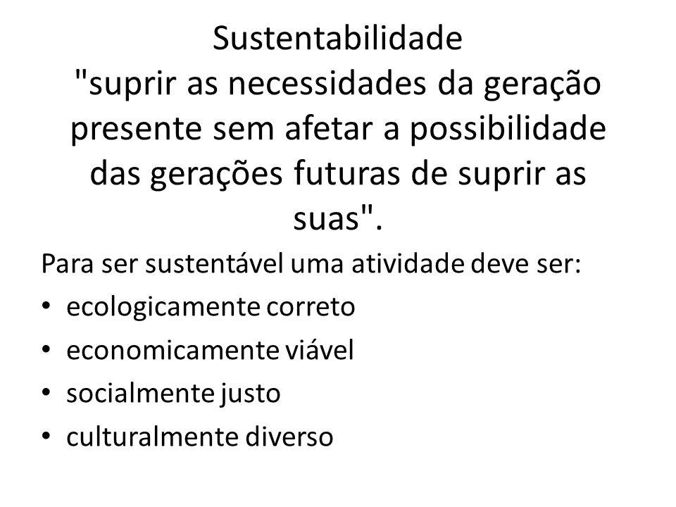 Sustentabilidade suprir as necessidades da geração presente sem afetar a possibilidade das gerações futuras de suprir as suas .