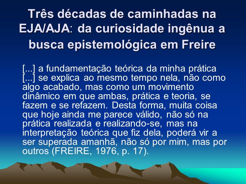 Três décadas de caminhadas na EJA/AJA: da curiosidade ingênua a busca epistemológica em Freire