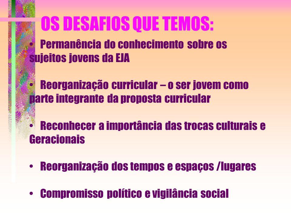OS DESAFIOS QUE TEMOS: Permanência do conhecimento sobre os sujeitos jovens da EJA.