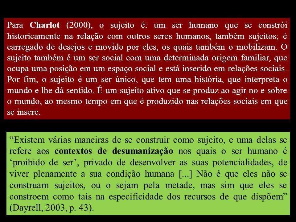 Para Charlot (2000), o sujeito é: um ser humano que se constrói historicamente na relação com outros seres humanos, também sujeitos; é carregado de desejos e movido por eles, os quais também o mobilizam. O sujeito também é um ser social com uma determinada origem familiar, que ocupa uma posição em um espaço social e está inserido em relações sociais. Por fim, o sujeito é um ser único, que tem uma história, que interpreta o mundo e lhe dá sentido. É um sujeito ativo que se produz ao agir no e sobre o mundo, ao mesmo tempo em que é produzido nas relações sociais em que se insere.
