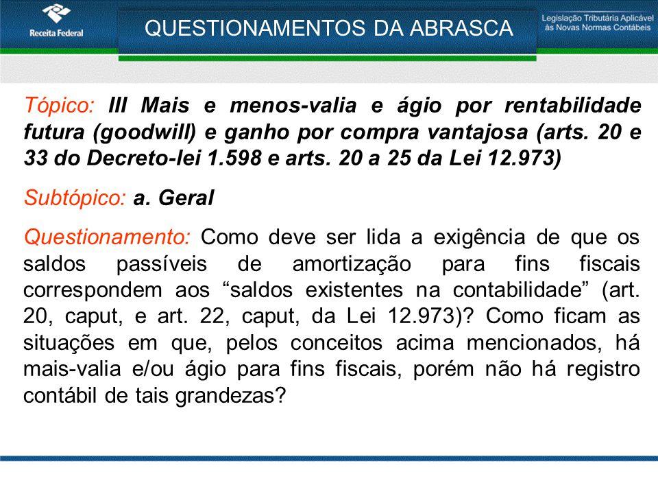 QUESTIONAMENTOS DA ABRASCA