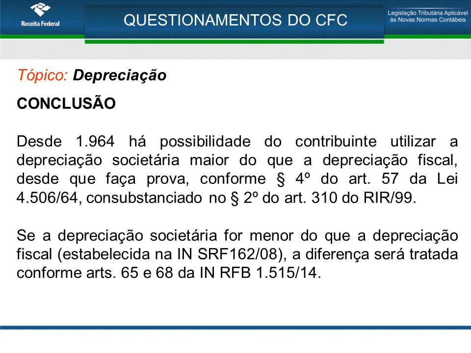 QUESTIONAMENTOS DO CFC