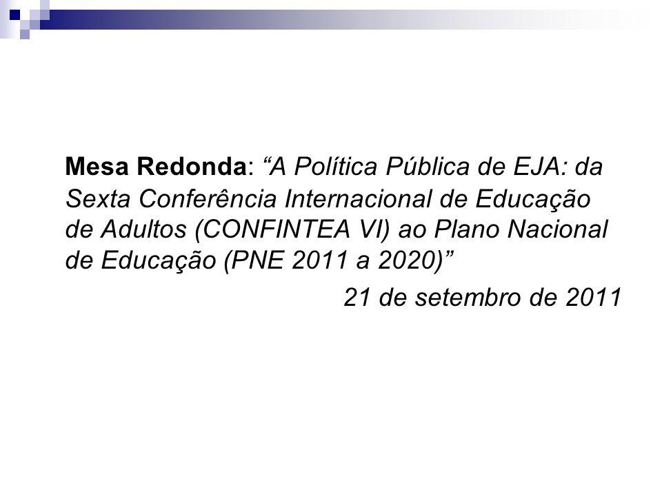 Mesa Redonda: A Política Pública de EJA: da Sexta Conferência Internacional de Educação de Adultos (CONFINTEA VI) ao Plano Nacional de Educação (PNE 2011 a 2020)