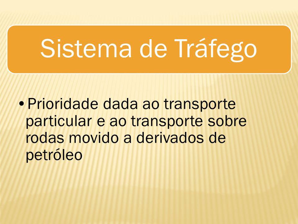 Sistema de Tráfego Prioridade dada ao transporte particular e ao transporte sobre rodas movido a derivados de petróleo.