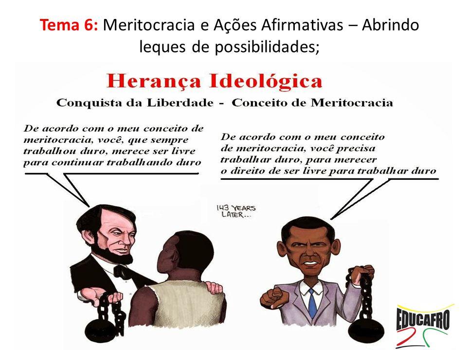 Tema 6: Meritocracia e Ações Afirmativas – Abrindo leques de possibilidades;
