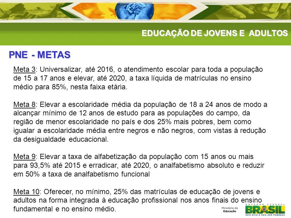 PNE - METAS EDUCAÇÃO DE JOVENS E ADULTOS