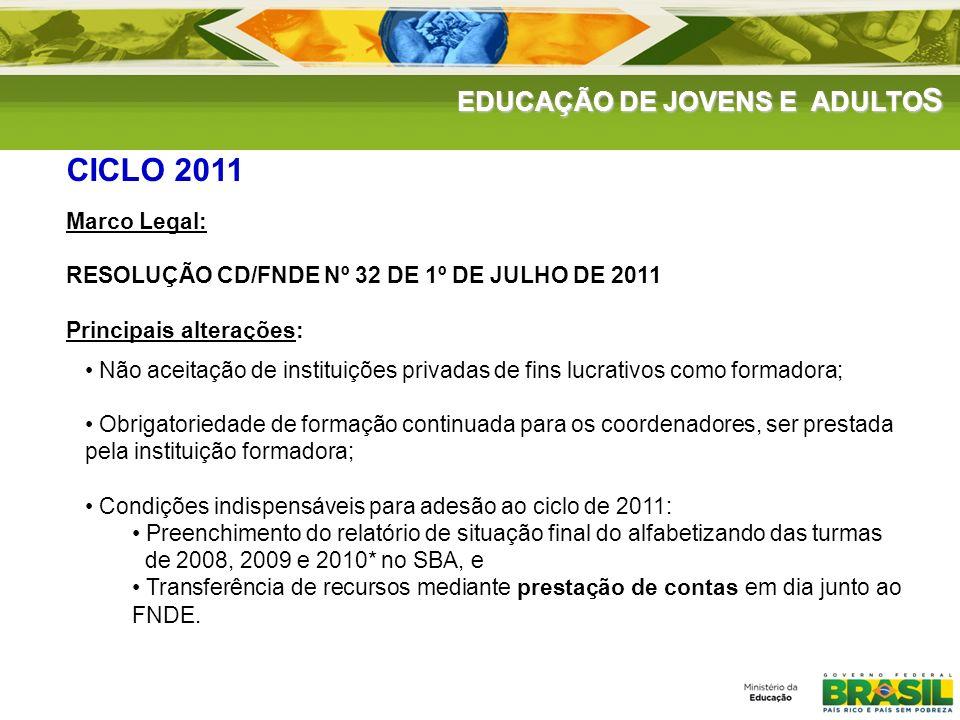 CICLO 2011 EDUCAÇÃO DE JOVENS E ADULTOS Marco Legal: