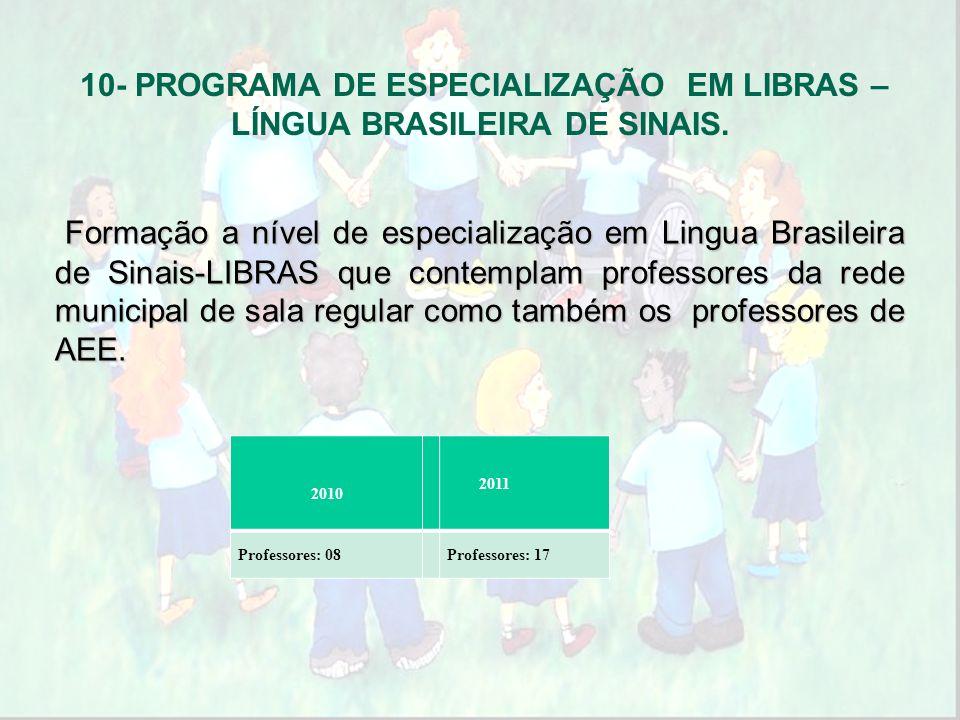 10- PROGRAMA DE ESPECIALIZAÇÃO EM LIBRAS – LÍNGUA BRASILEIRA DE SINAIS.