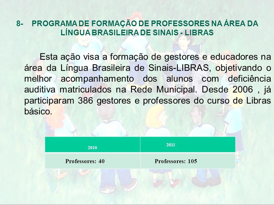 8- PROGRAMA DE FORMAÇÃO DE PROFESSORES NA ÁREA DA LÍNGUA BRASILEIRA DE SINAIS - LIBRAS