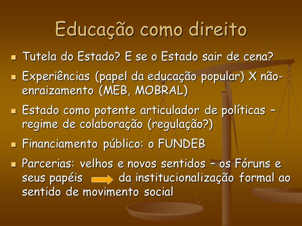 Educação como direito Tutela do Estado E se o Estado sair de cena