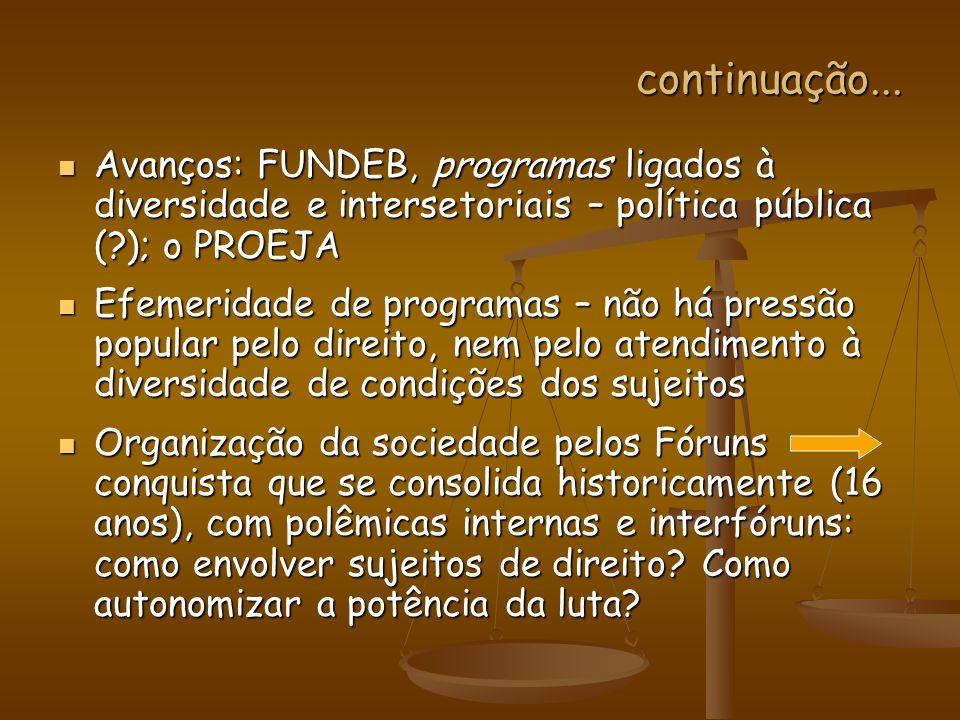 continuação... Avanços: FUNDEB, programas ligados à diversidade e intersetoriais – política pública ( ); o PROEJA.
