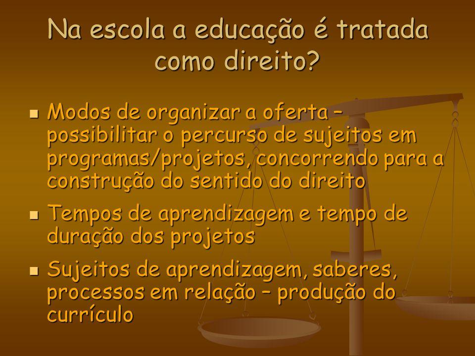 Na escola a educação é tratada como direito