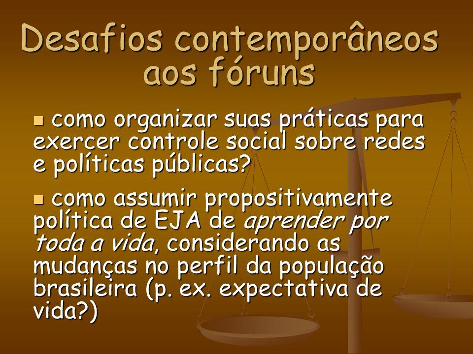 Desafios contemporâneos aos fóruns