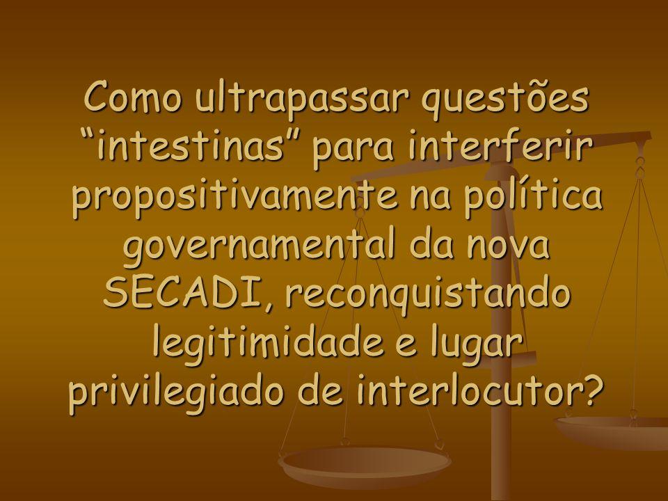Como ultrapassar questões intestinas para interferir propositivamente na política governamental da nova SECADI, reconquistando legitimidade e lugar privilegiado de interlocutor