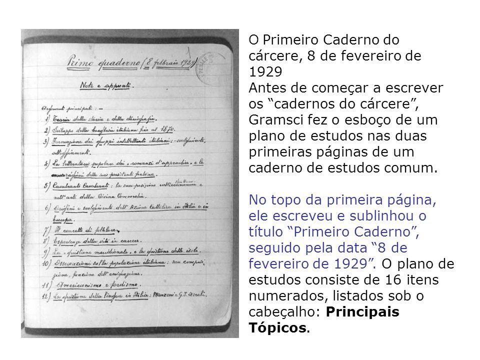 O Primeiro Caderno do cárcere, 8 de fevereiro de 1929