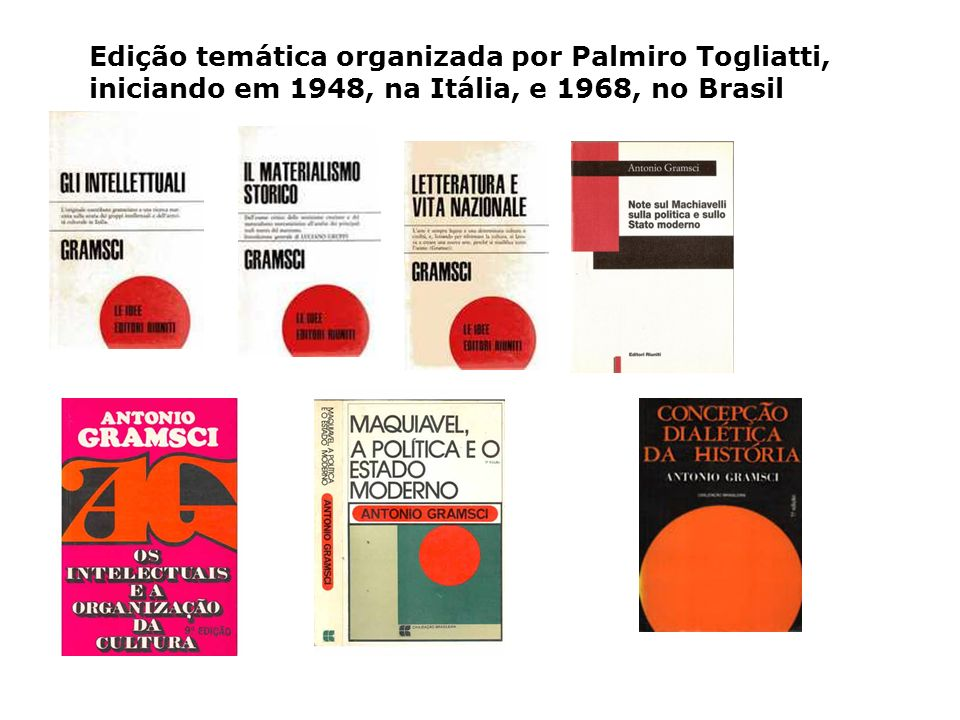Edição temática organizada por Palmiro Togliatti, iniciando em 1948, na Itália, e 1968, no Brasil