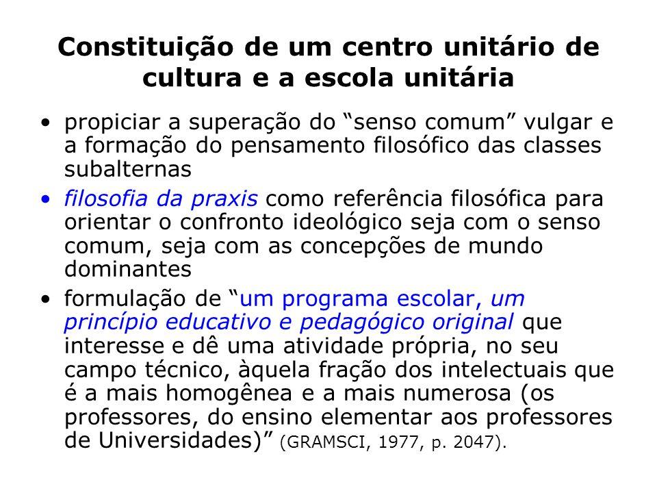 Constituição de um centro unitário de cultura e a escola unitária
