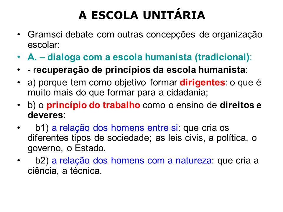 A ESCOLA UNITÁRIA Gramsci debate com outras concepções de organização escolar: A. – dialoga com a escola humanista (tradicional):