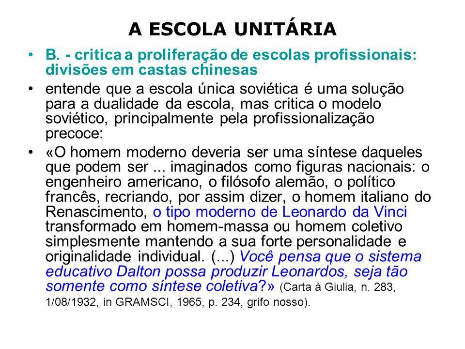 A ESCOLA UNITÁRIA B. - critica a proliferação de escolas profissionais: divisões em castas chinesas.