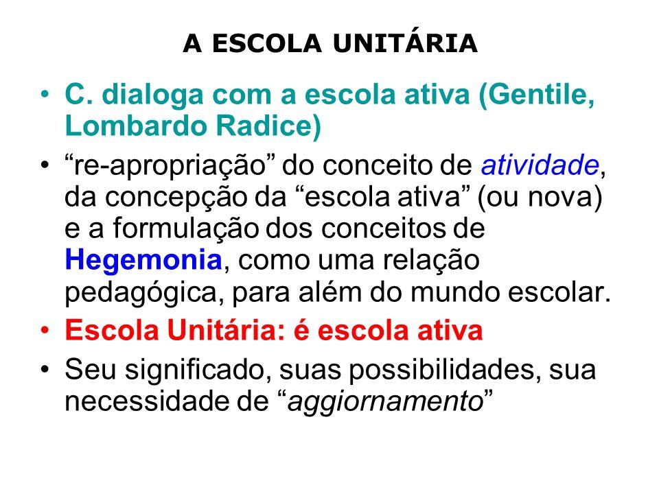 C. dialoga com a escola ativa (Gentile, Lombardo Radice)