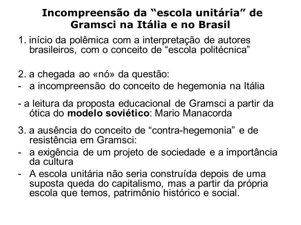 Incompreensão da escola unitária de Gramsci na Itália e no Brasil