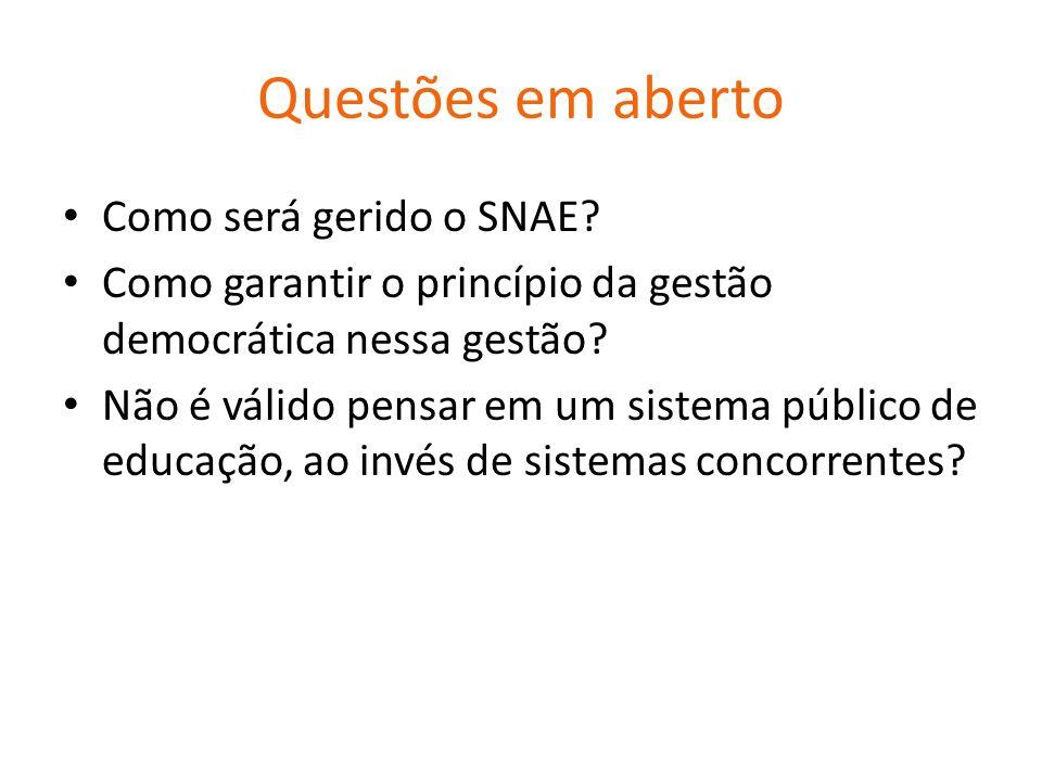 Questões em aberto Como será gerido o SNAE
