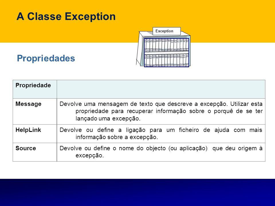 A Classe Exception Propriedades Propriedade Message