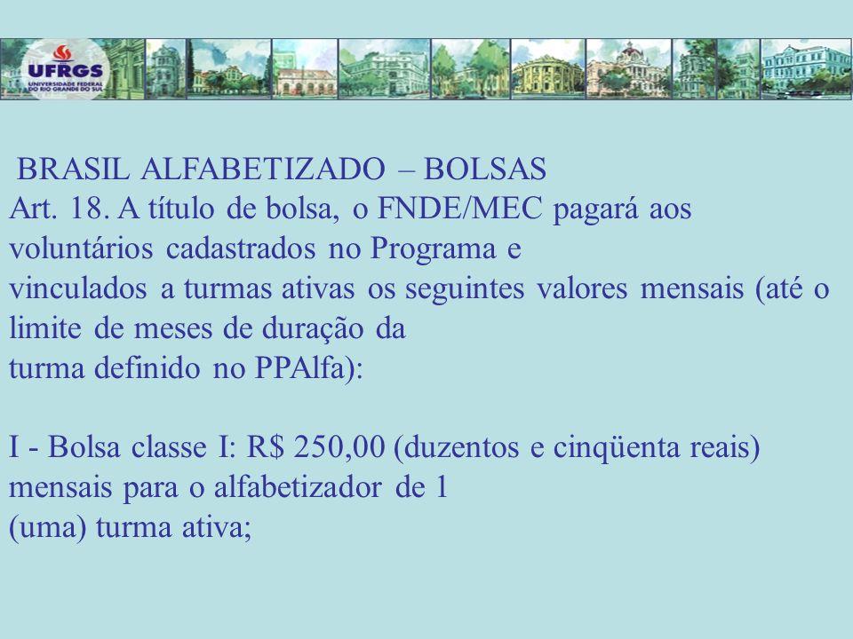 BRASIL ALFABETIZADO – BOLSAS