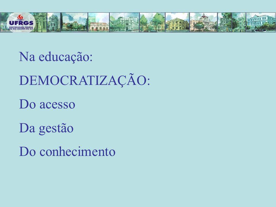 Na educação: DEMOCRATIZAÇÃO: Do acesso Da gestão Do conhecimento