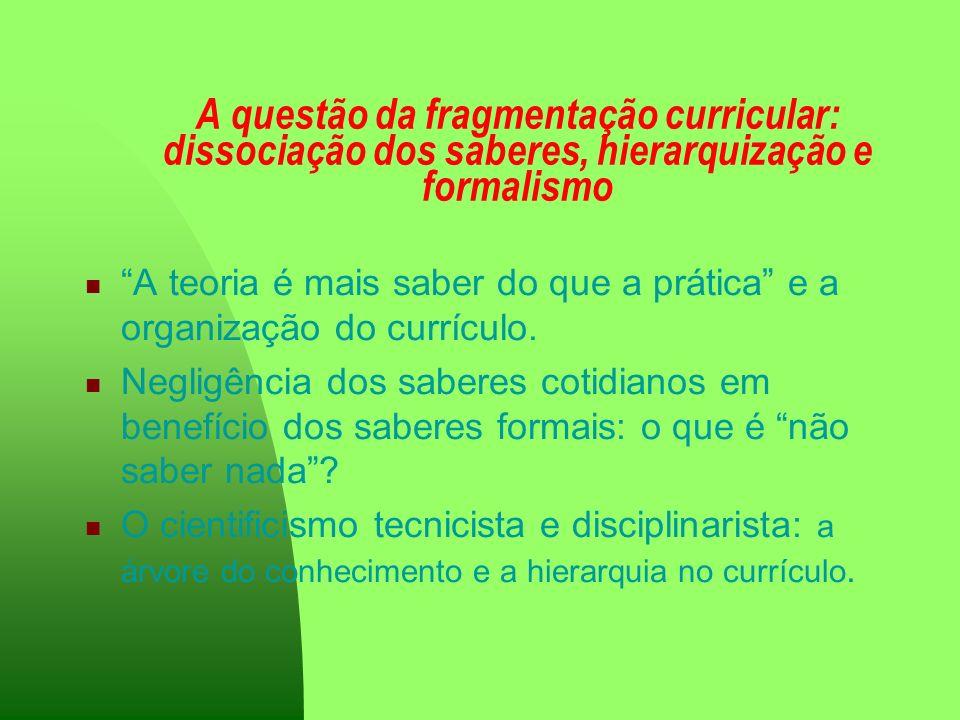 A questão da fragmentação curricular: dissociação dos saberes, hierarquização e formalismo
