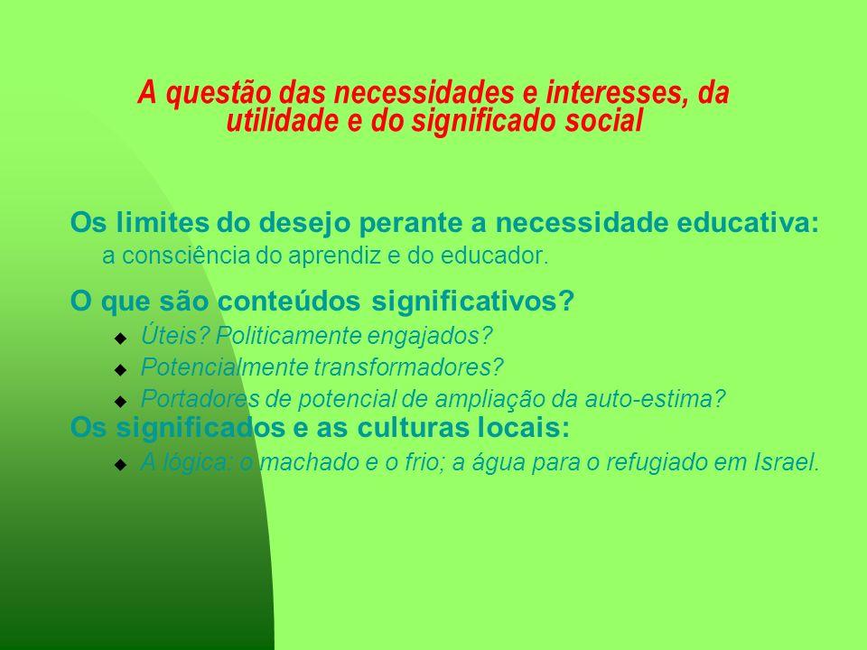 A questão das necessidades e interesses, da utilidade e do significado social