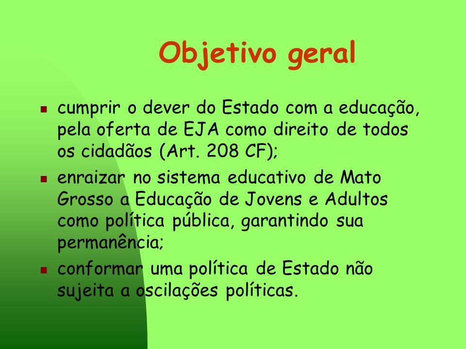 Objetivo geral cumprir o dever do Estado com a educação, pela oferta de EJA como direito de todos os cidadãos (Art. 208 CF);