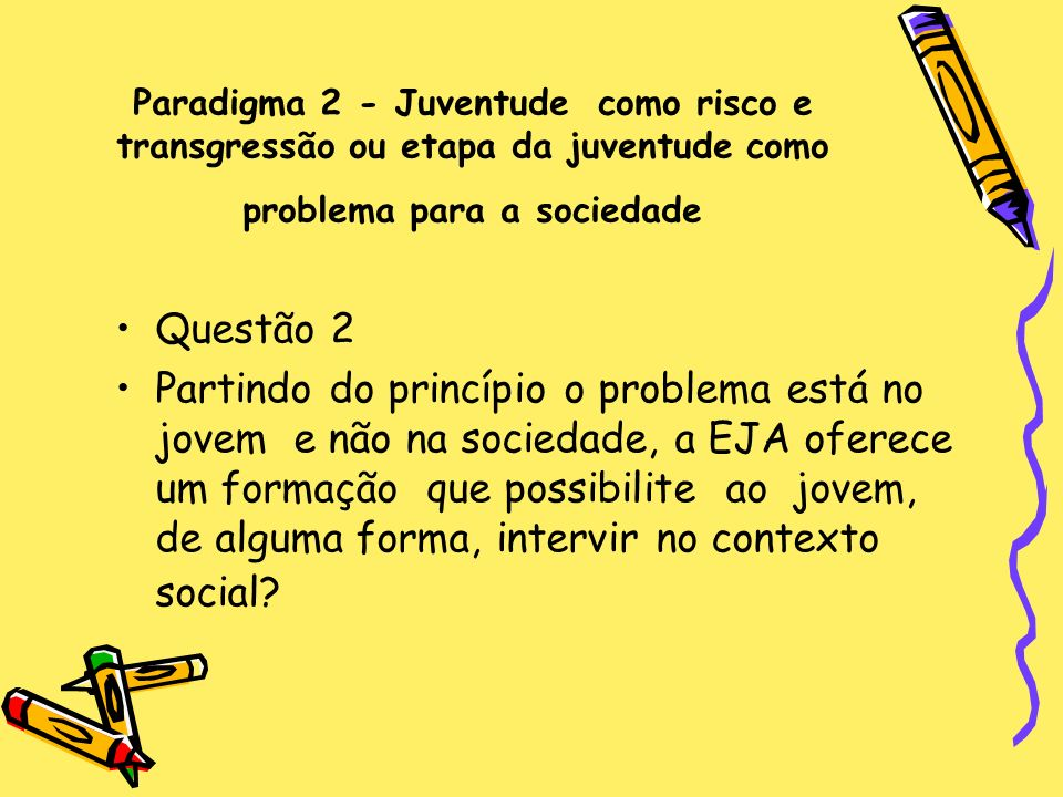 Paradigma 2 - Juventude como risco e transgressão ou etapa da juventude como problema para a sociedade