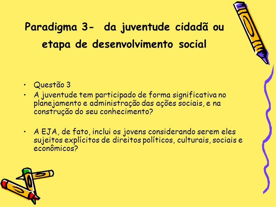Paradigma 3- da juventude cidadã ou etapa de desenvolvimento social