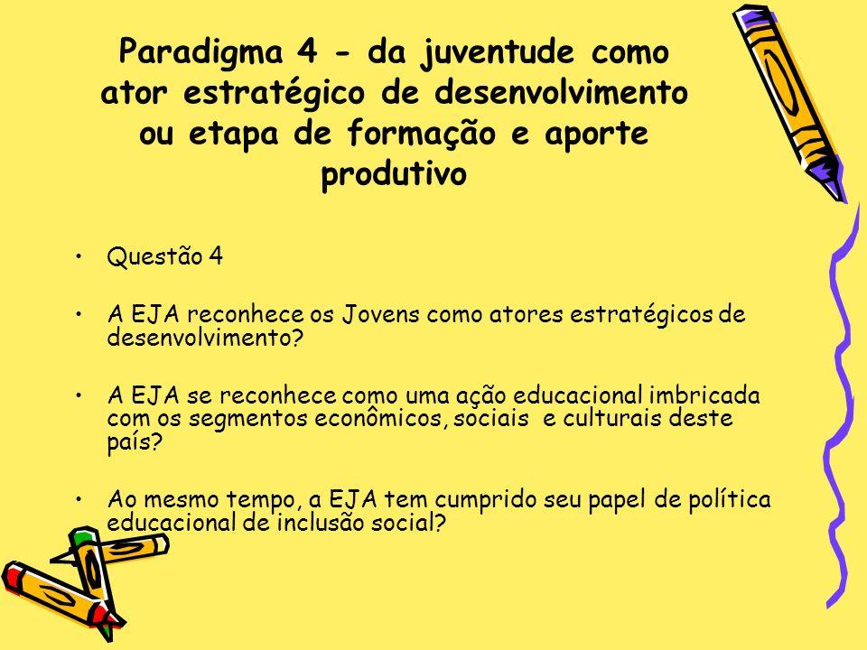 Paradigma 4 - da juventude como ator estratégico de desenvolvimento ou etapa de formação e aporte produtivo