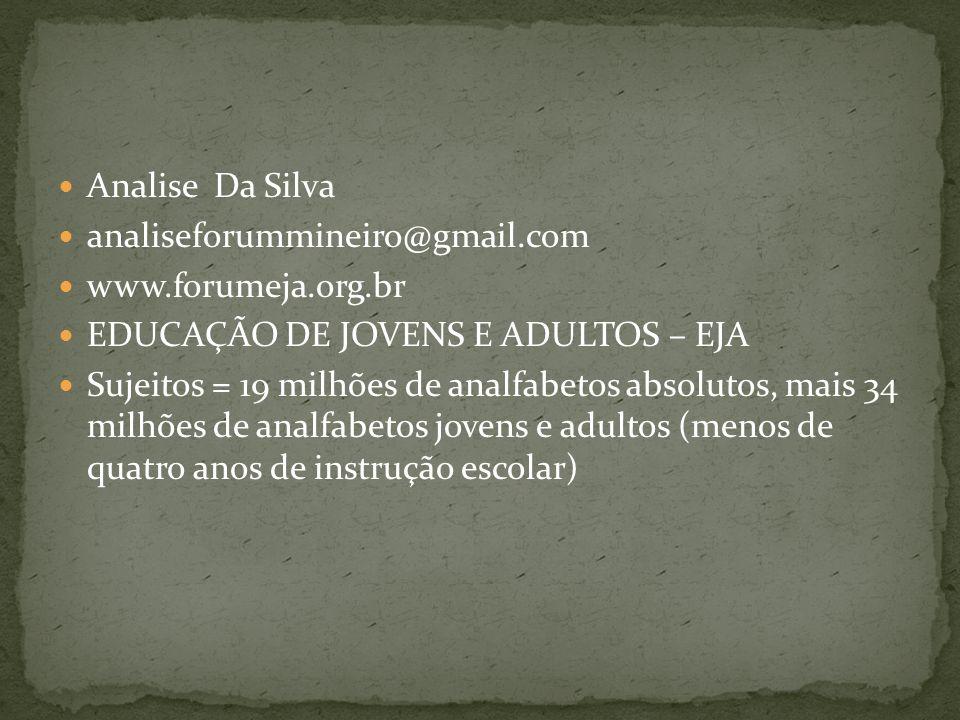 Analise Da Silva analiseforummineiro@gmail.com. www.forumeja.org.br. EDUCAÇÃO DE JOVENS E ADULTOS – EJA.