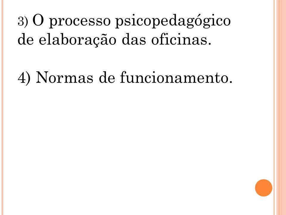 4) Normas de funcionamento.