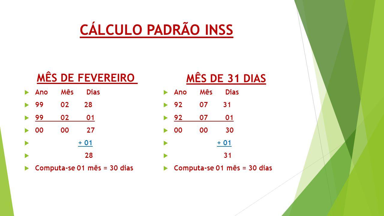 CÁLCULO PADRÃO INSS MÊS DE FEVEREIRO MÊS DE 31 DIAS Ano Mês Dias