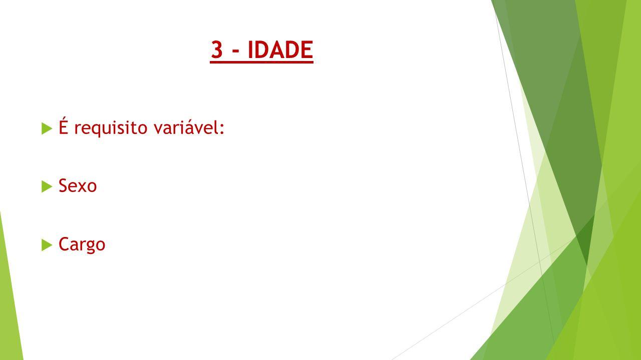 3 - IDADE É requisito variável: Sexo Cargo