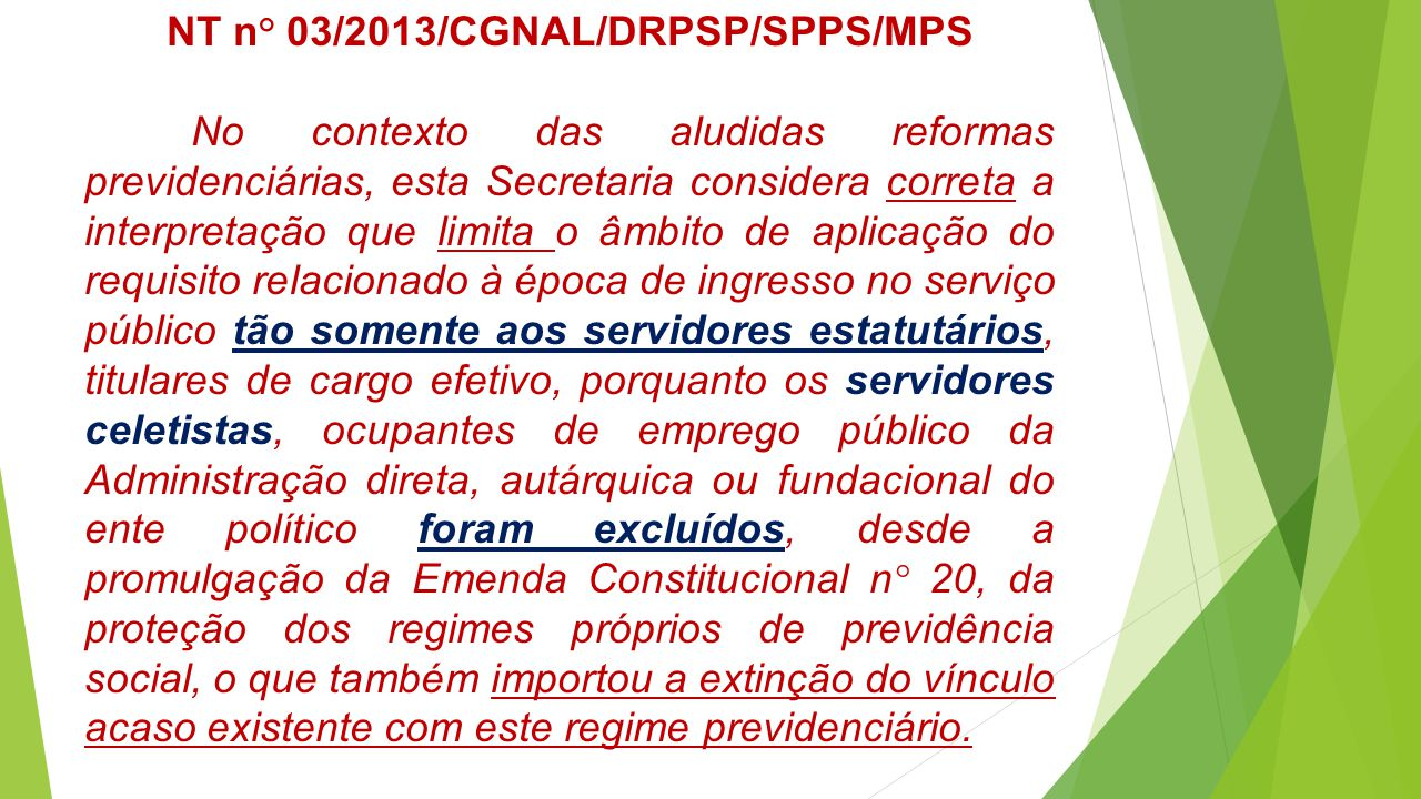 NT n° 03/2013/CGNAL/DRPSP/SPPS/MPS