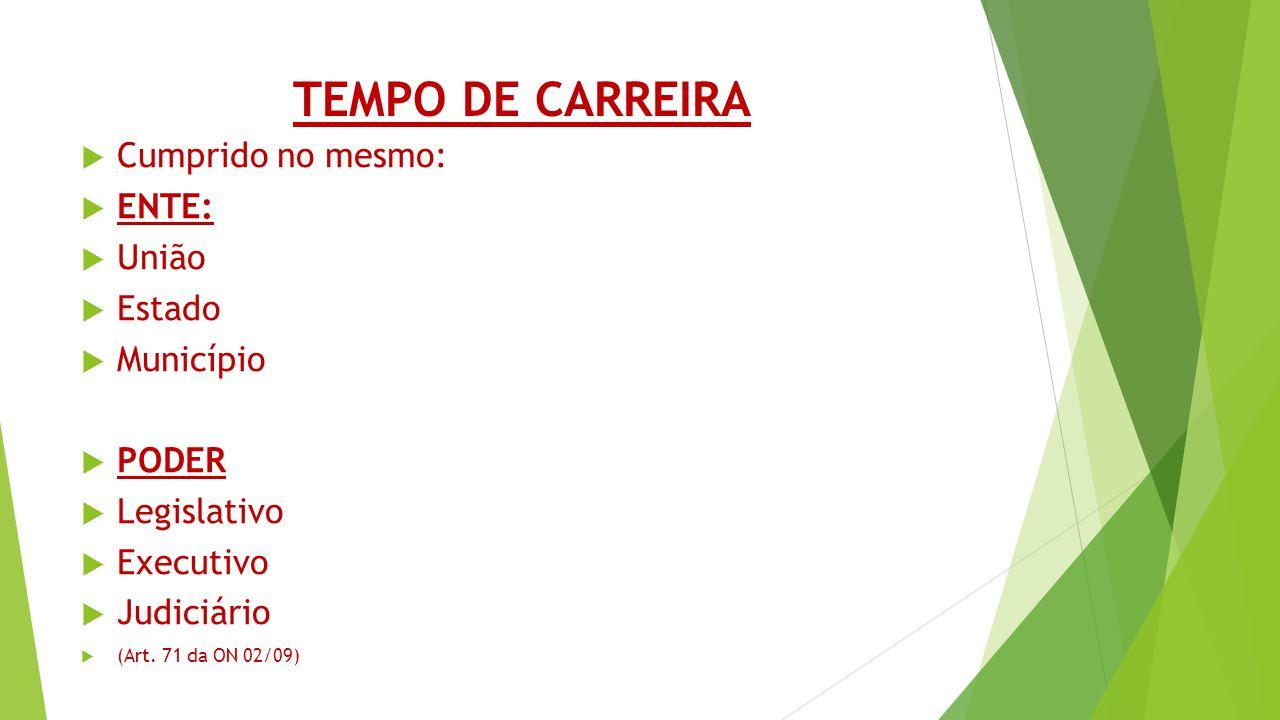 TEMPO DE CARREIRA Cumprido no mesmo: ENTE: União Estado Município