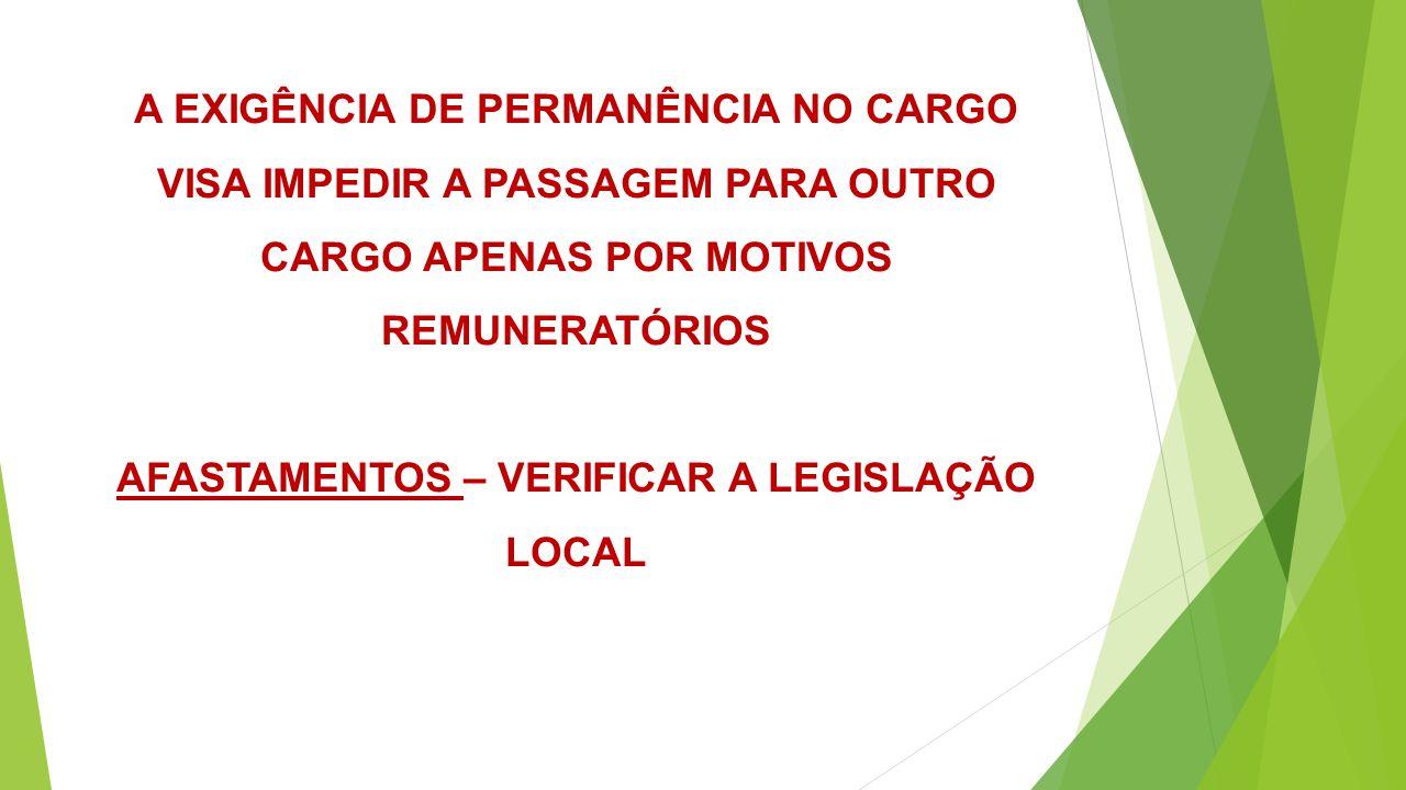 AFASTAMENTOS – verificar a legislação local