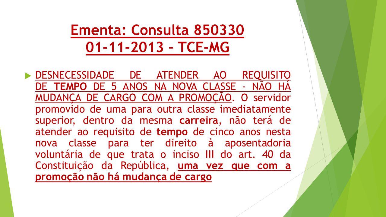 Ementa: Consulta 850330 01-11-2013 – TCE-MG